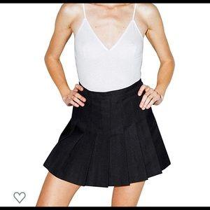 American Apparel Black Pleated Tennis Skirt